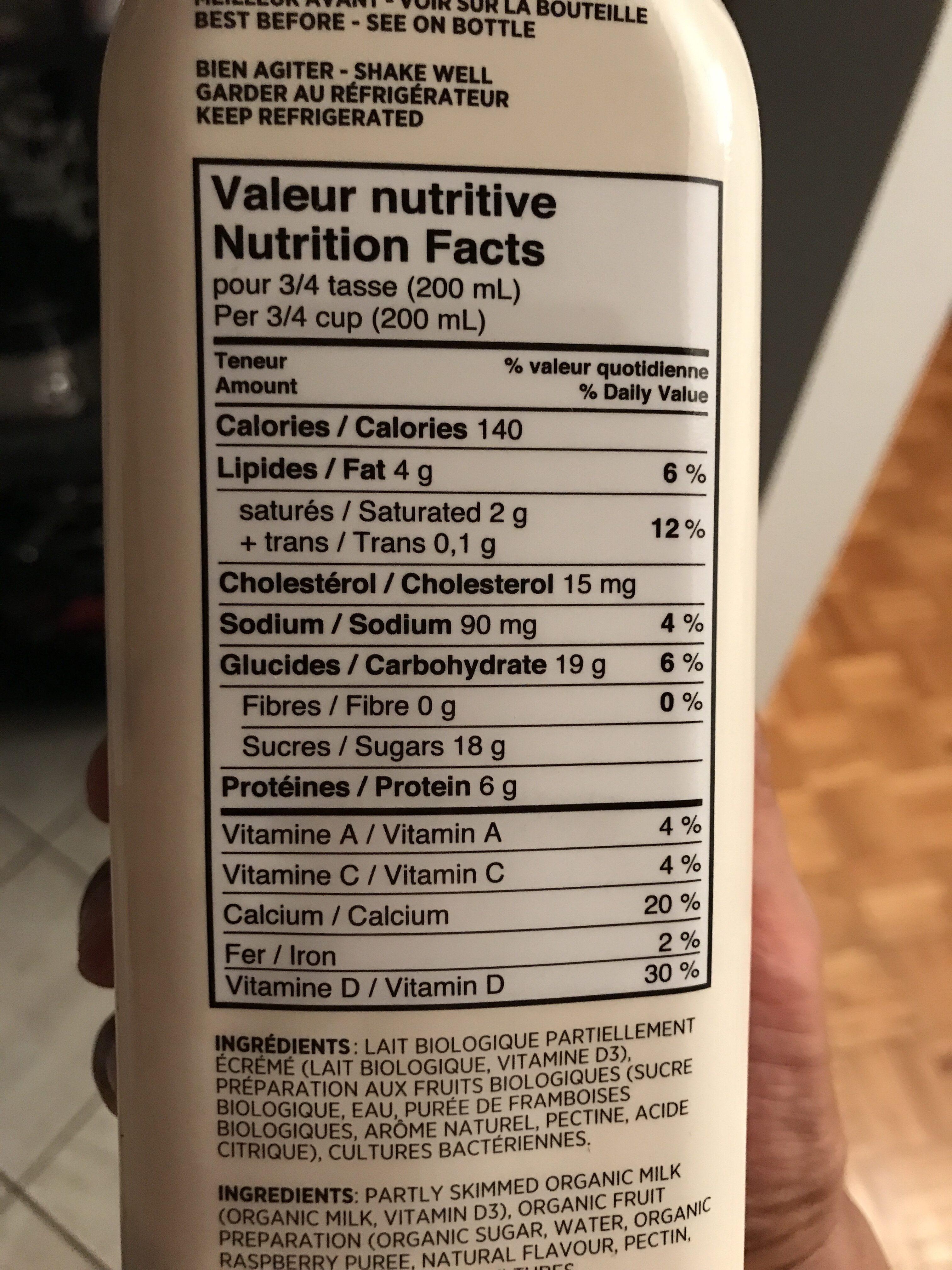 Kefir framboise bio - Informations nutritionnelles - en