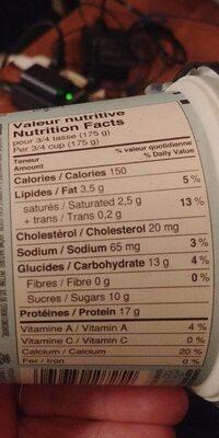 Yogourt style islandais - Informations nutritionnelles - fr