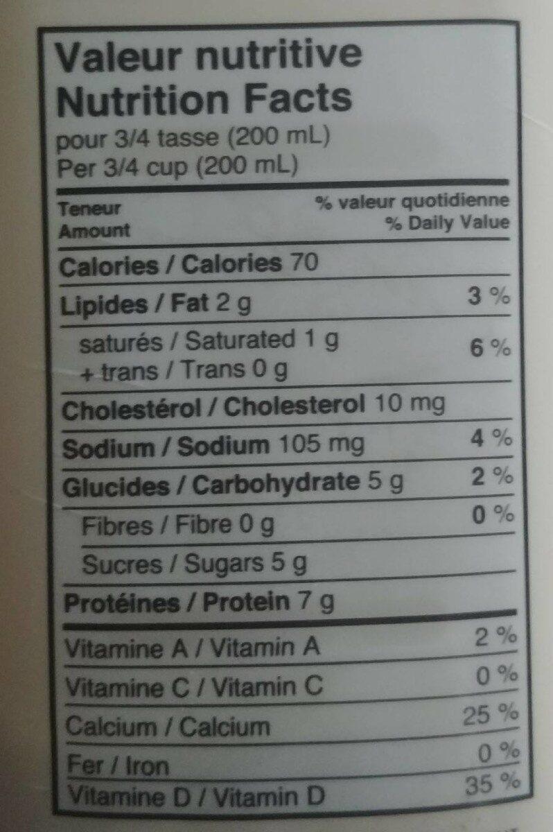 Kefir - Informations nutritionnelles - fr