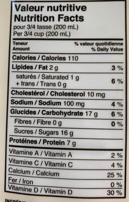 Kéfir - Informations nutritionnelles - fr