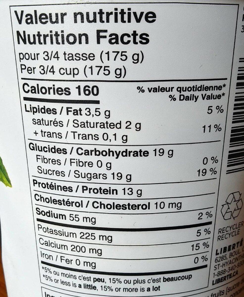 Peach Greek yogurt - Informations nutritionnelles - fr