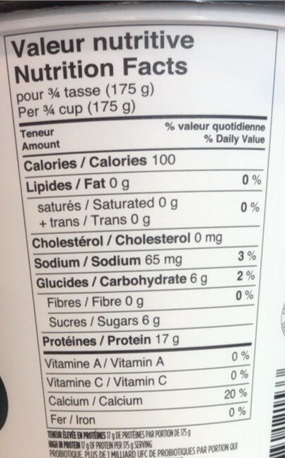 Organic yogurt - Nutrition facts - fr