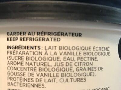 Yaourt vanille - Ingrédients