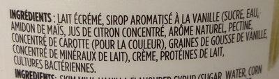 Yogourt grec vanille - Ingrédients - fr