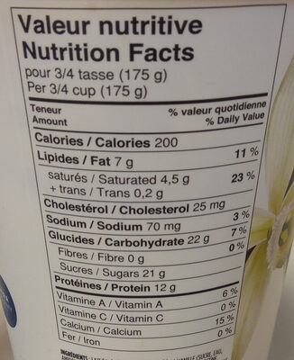 Yogourt grec vanille - Informations nutritionnelles - en