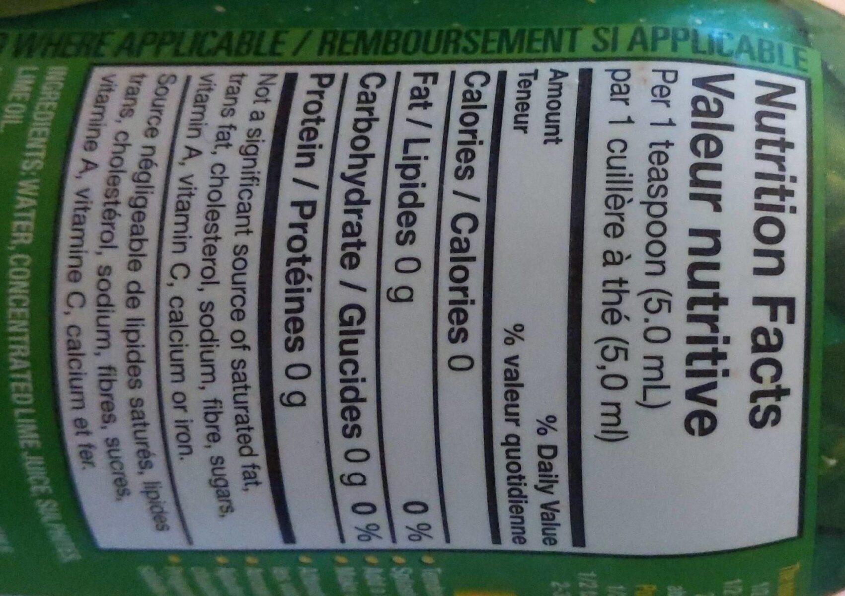 Jus de lime - Nutrition facts - fr