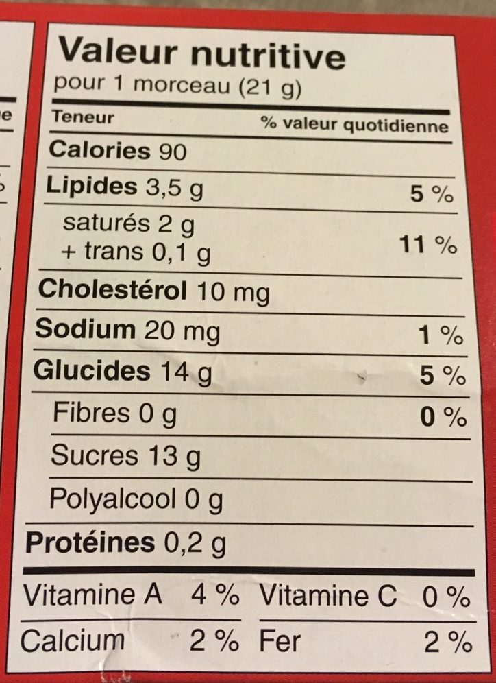 Maple Fudge à l'Érable - Nutrition facts
