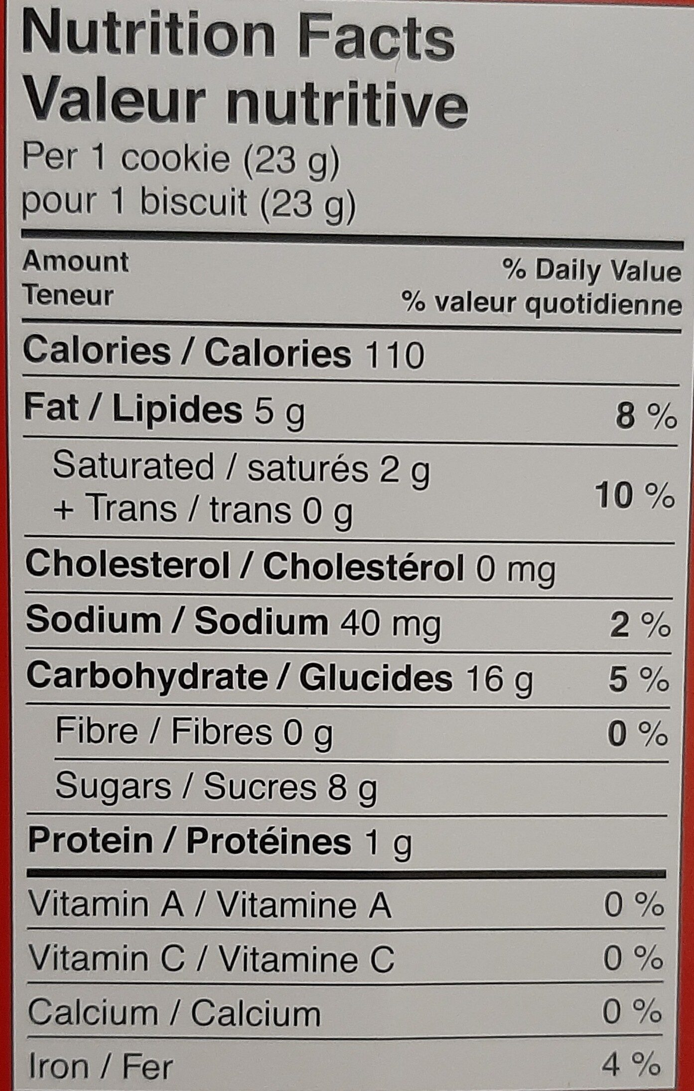 Maple Cream Cookies - Nutrition facts - fr