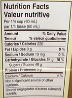 Sirop d'érable Pur Canadien - Informations nutritionnelles - fr