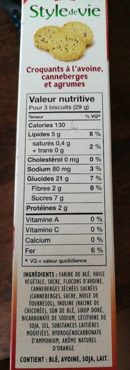 Croquant a l'avoine canneberges et agrumes - Informations nutritionnelles - fr