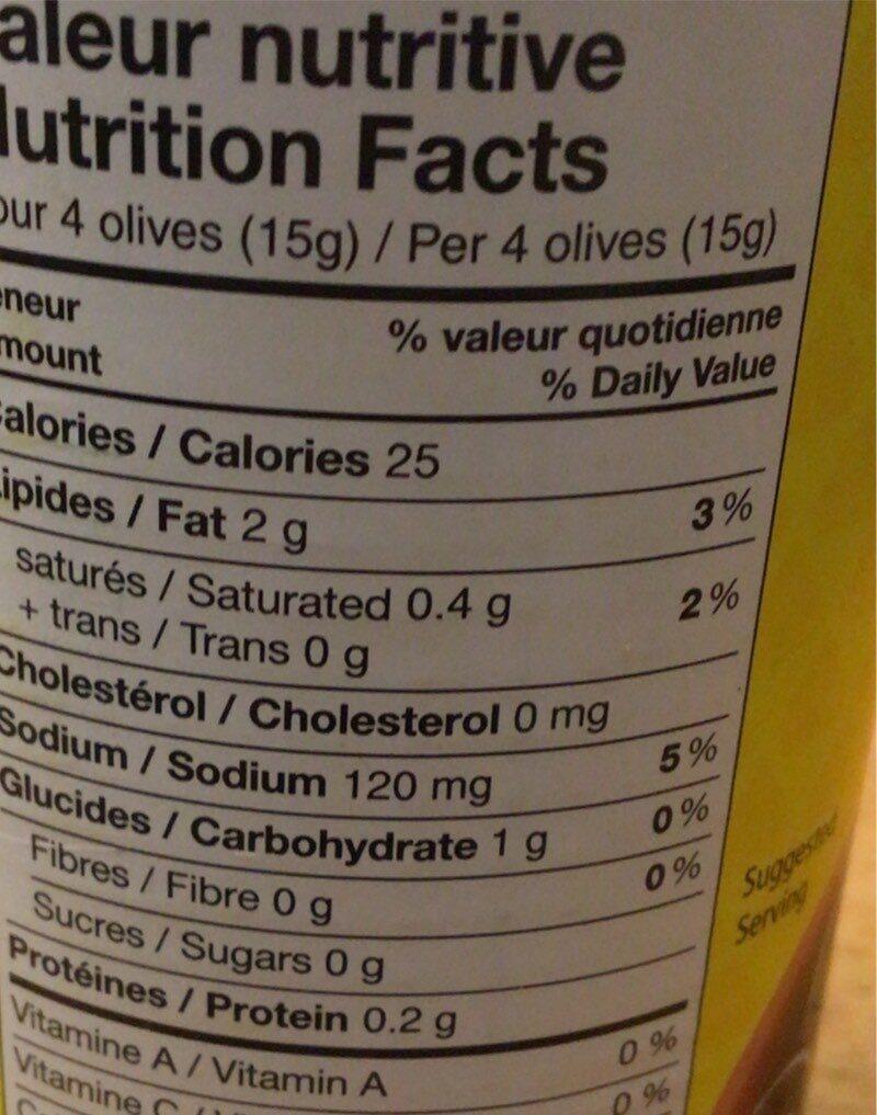 Olives Noires - Nutrition facts - fr