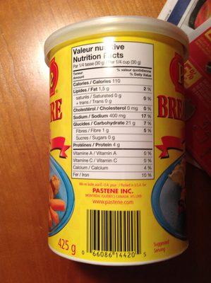 Chapelure regulière - Nutrition facts - fr