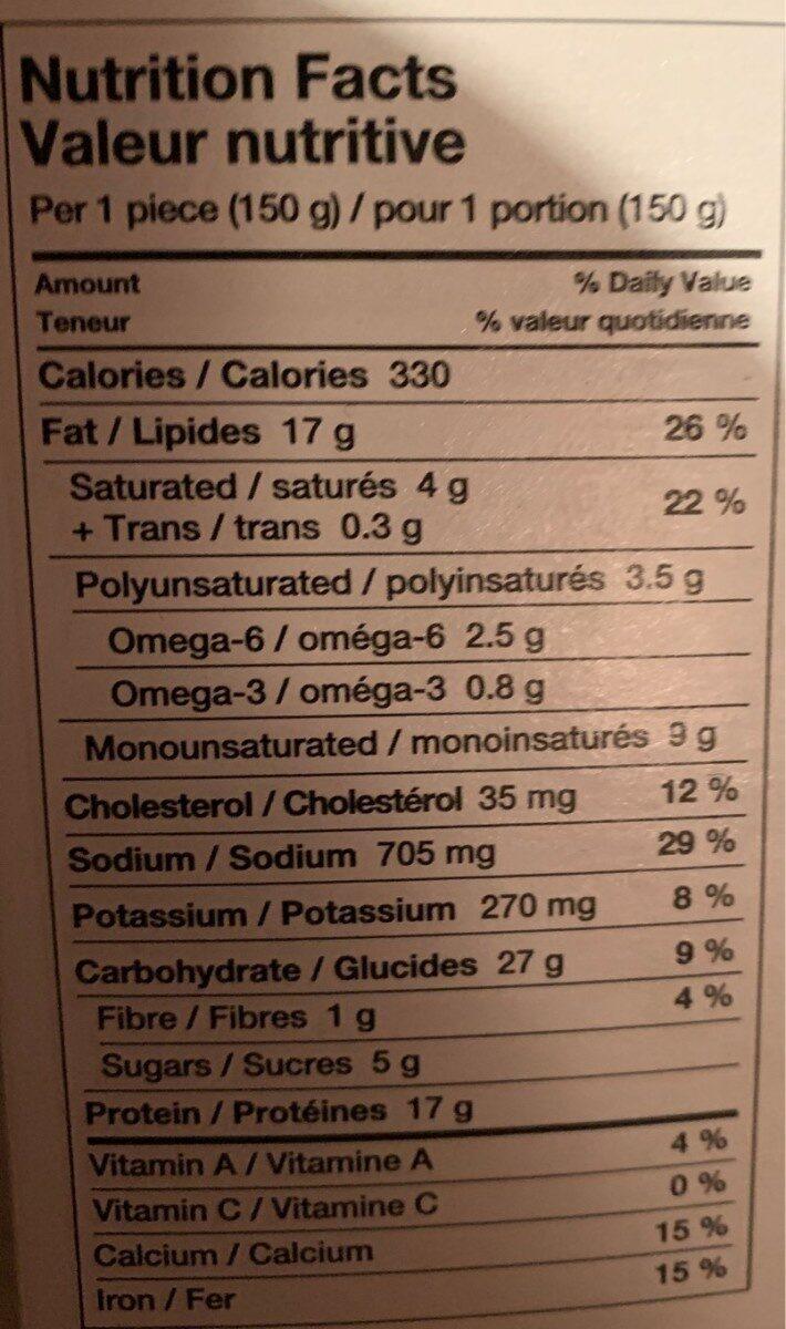Poulet parmigiana - Nutrition facts - fr