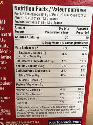 Minit tapioca - Nutrition facts - fr