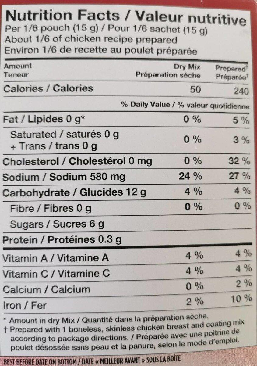 Shake 'n bake coating mix glaze - Informations nutritionnelles - en