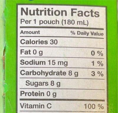 Kool-aid jammers fraise-kiwi - Informations nutritionnelles