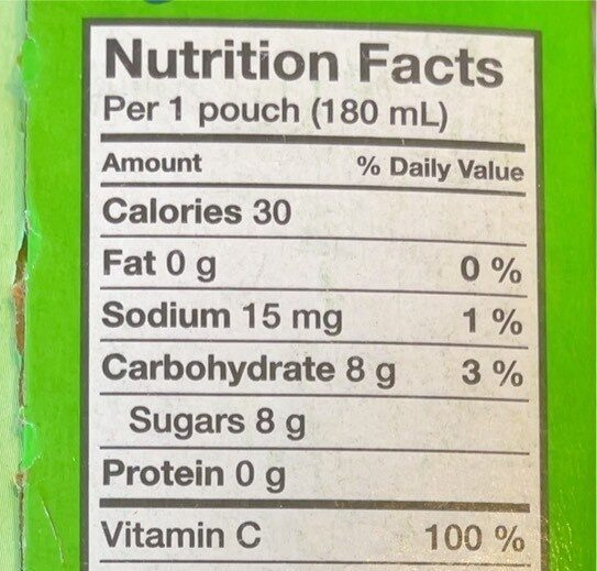 Kool-aid jammers fraise-kiwi - Informations nutritionnelles - en