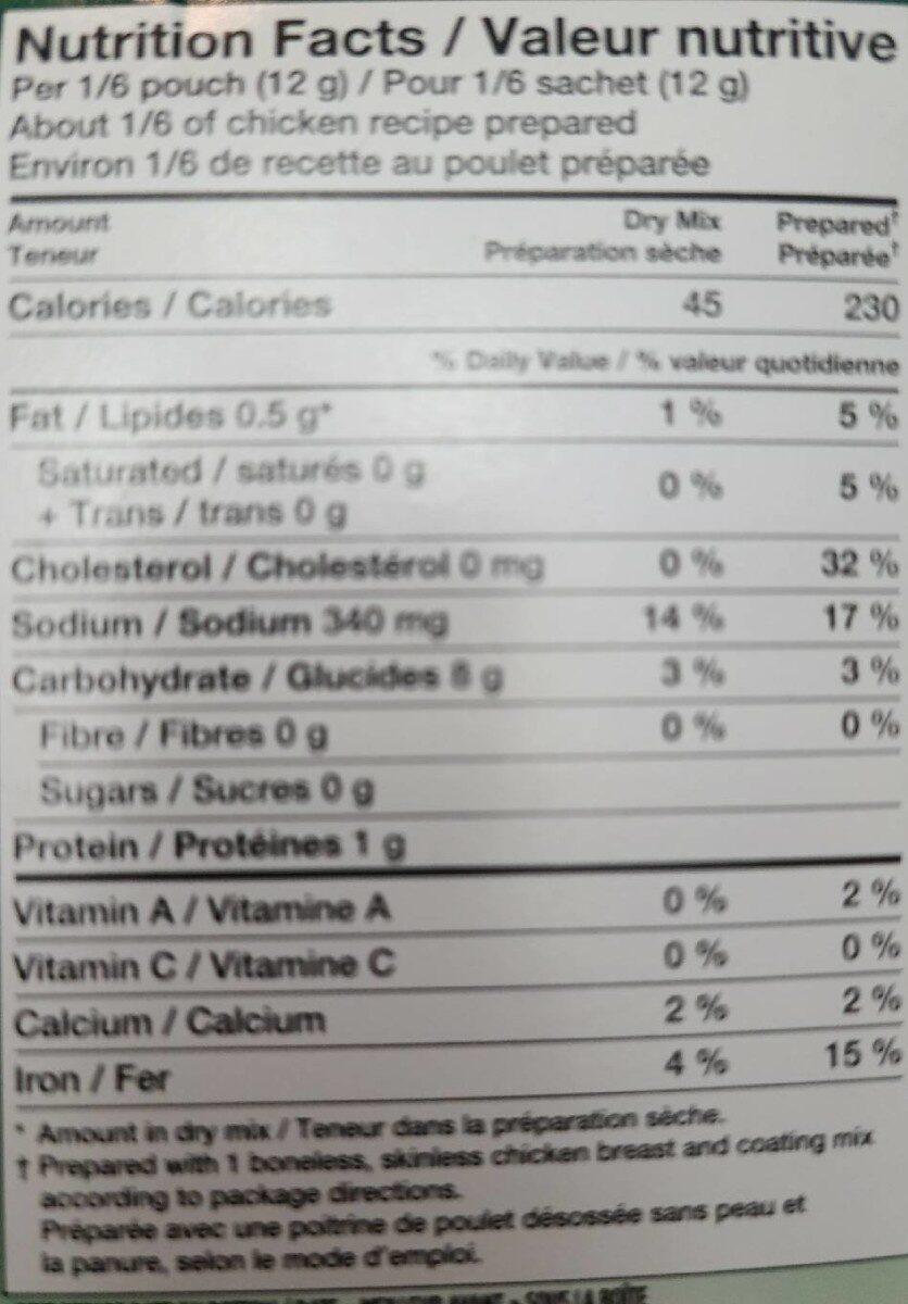 Shake n bake - Informations nutritionnelles - fr