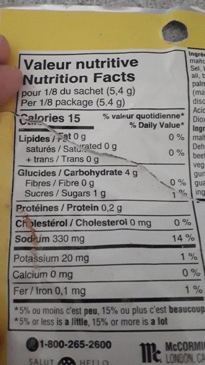 Mélange Pour Sauce Sachet (BBQ) - Nutrition facts - fr