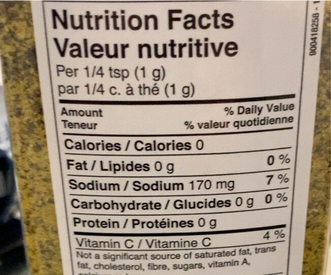 Lemon and pepper seasoning - Valori nutrizionali - en
