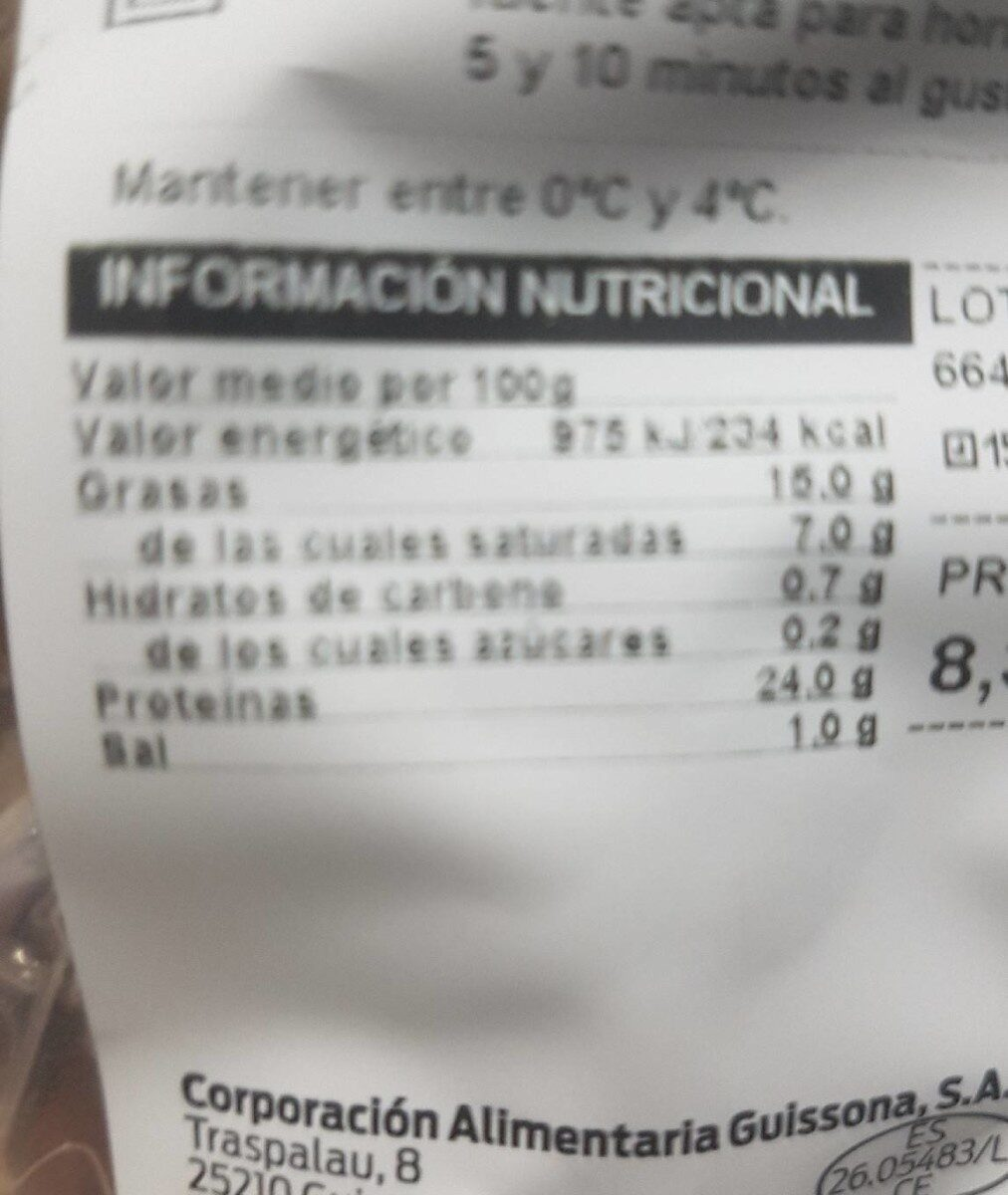 Carrilleras asadas - Valori nutrizionali - es