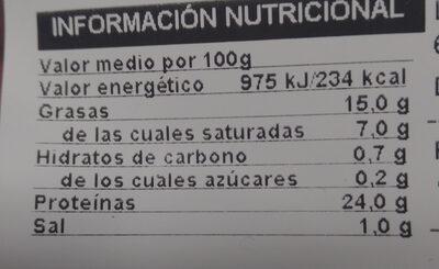 Carrilladas asadas - Informació nutricional - es