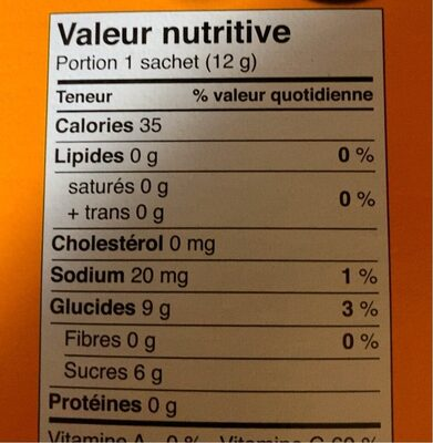 Fruit snacks - Informations nutritionnelles