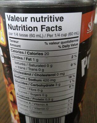 St hubert poutine gravy - Nutrition facts - fr