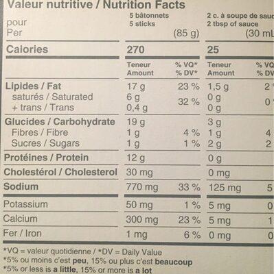 Batonnets de fromage mozzarella - Nutrition facts - fr