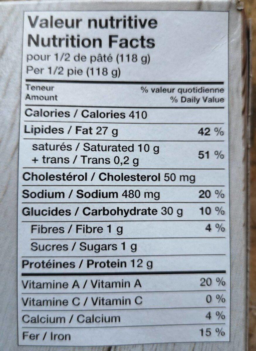 Tourtière St-Hubert - Informations nutritionnelles - en