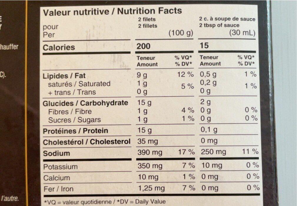 Filets de poitrine de poulet - Nutrition facts - fr