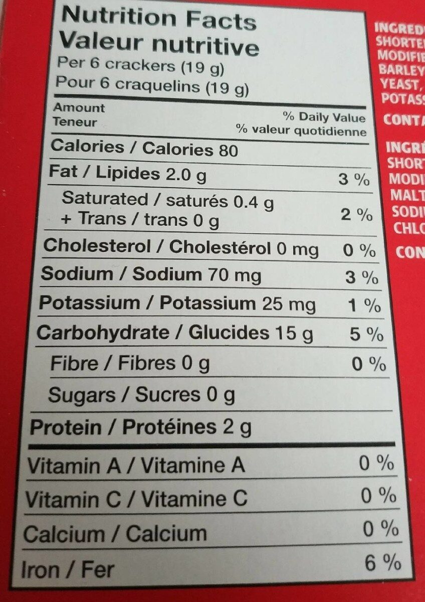 Crakers - Nutrition facts - fr