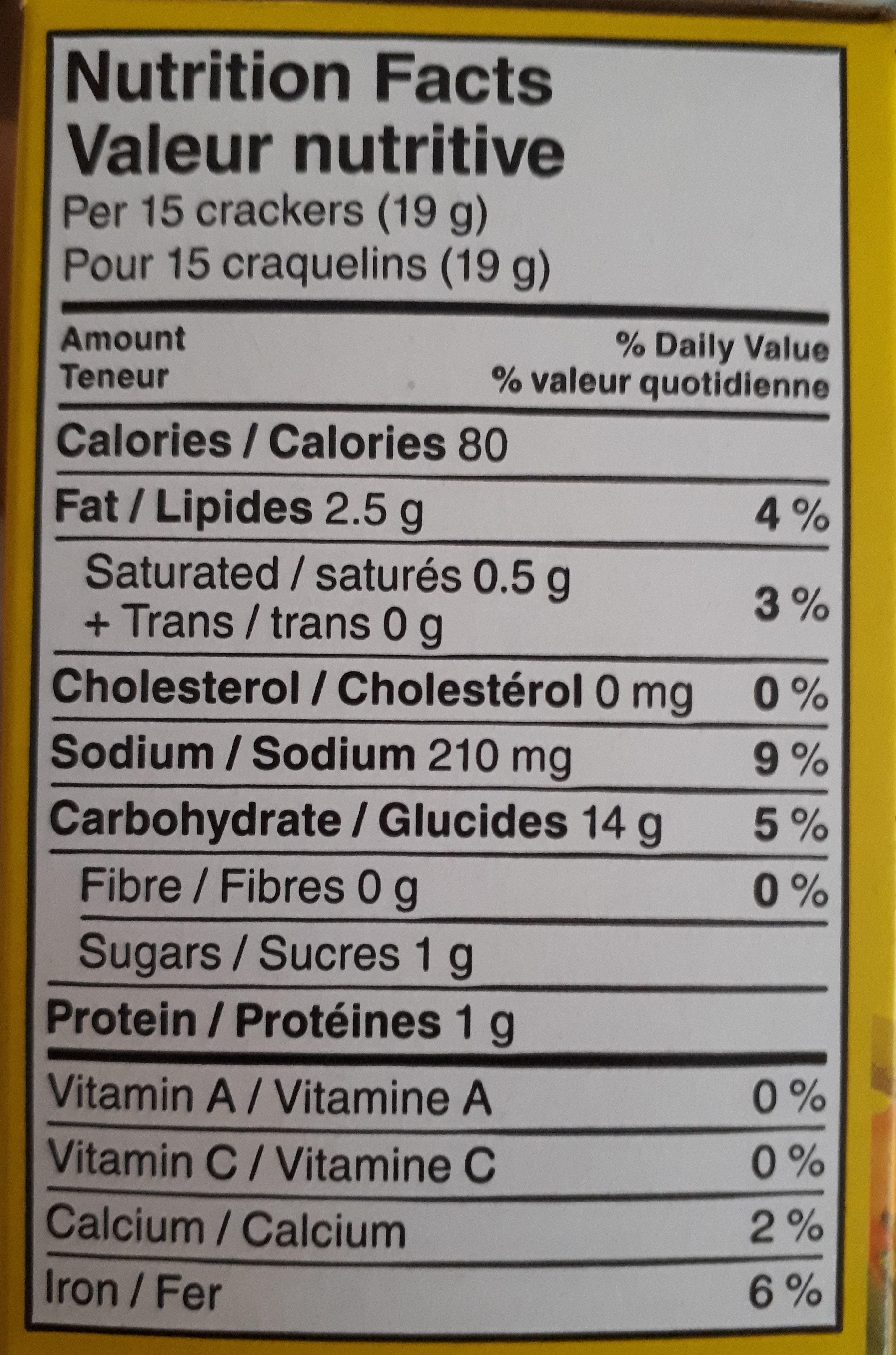 Craquelins aromatisés aux légumes - Nutrition facts - fr