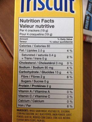 Craquelins Triscuit (poivre & Huile D'olive) - Informations nutritionnelles - fr