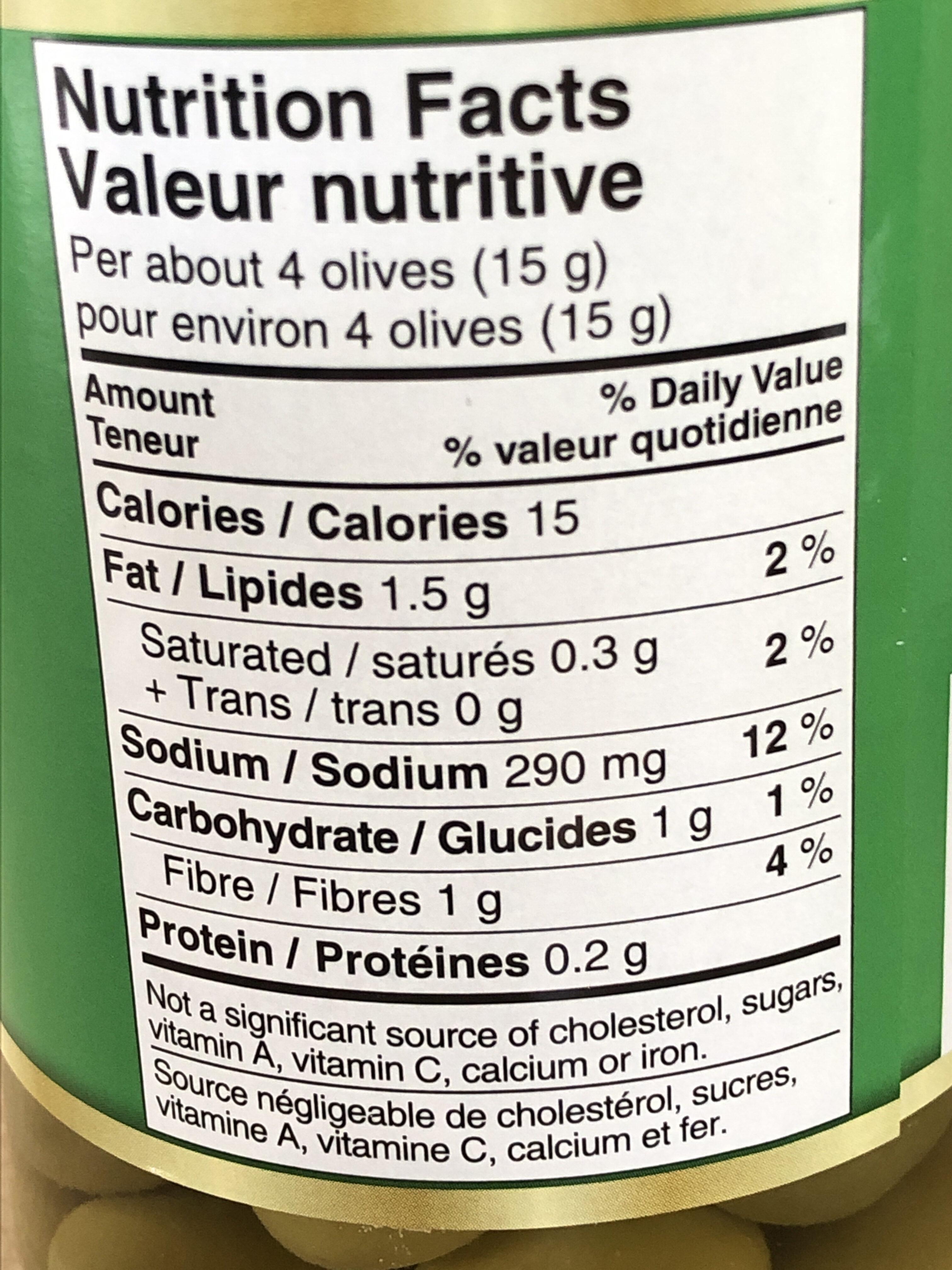 Olives - Nutrition facts - fr