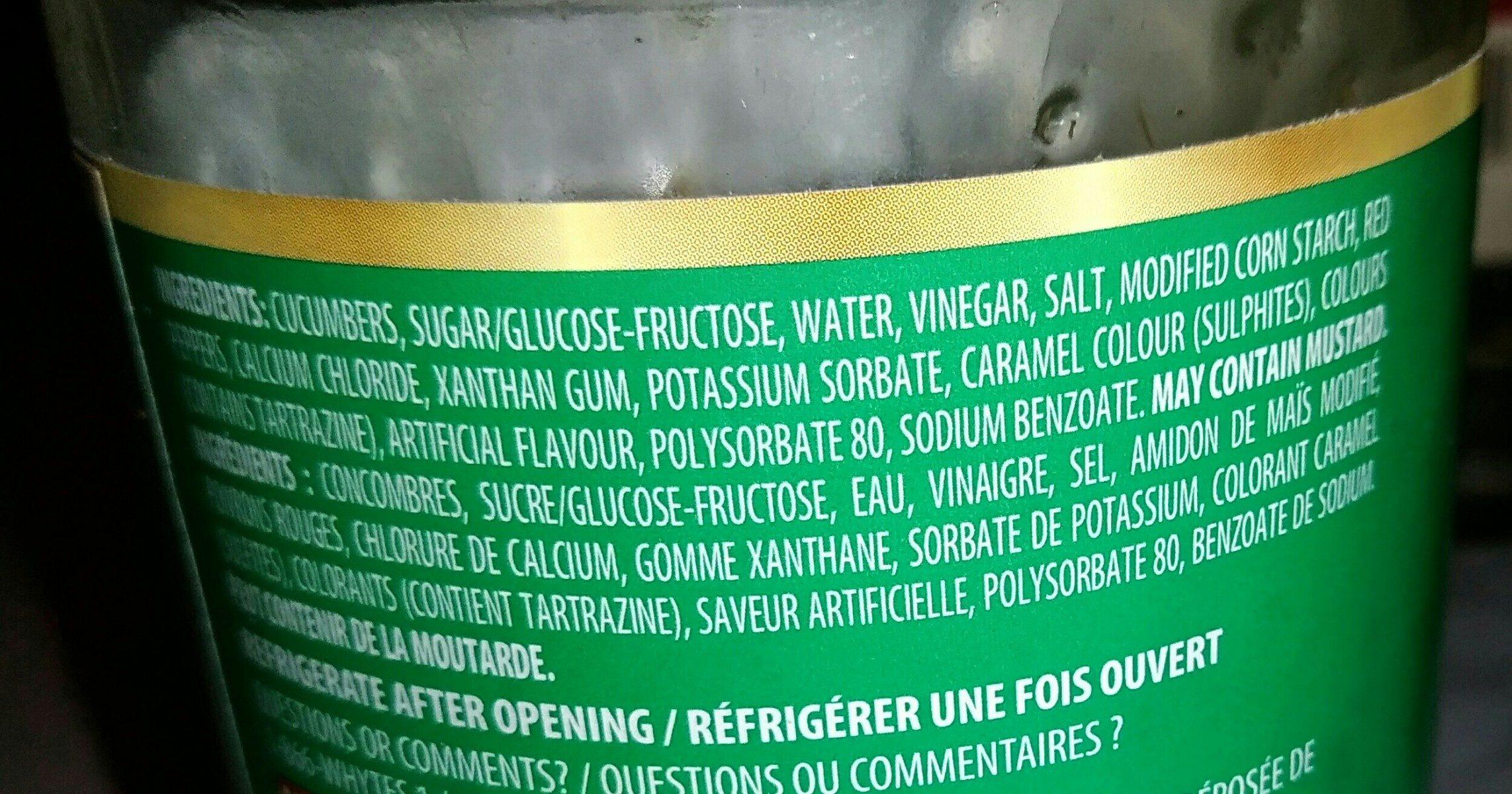 Relish Sucrée (verte) - Ingrediënten
