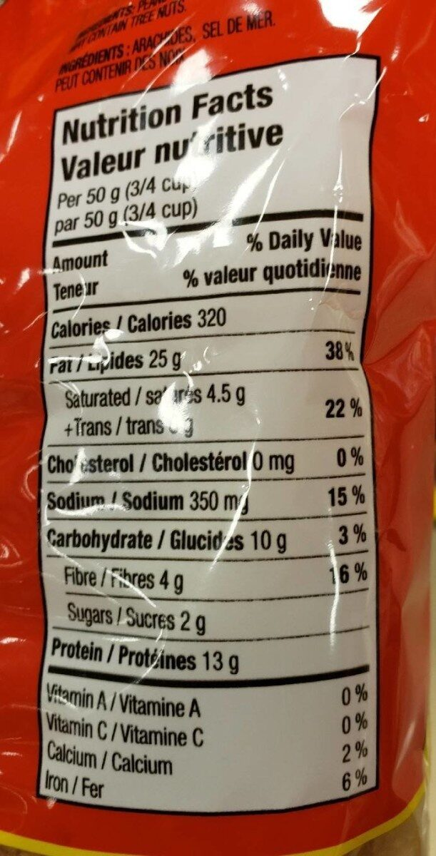 peanuts - Nutrition facts - fr