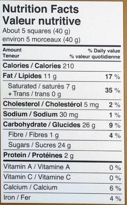 Maple Crunch milk chocolate - Nutrition facts - en