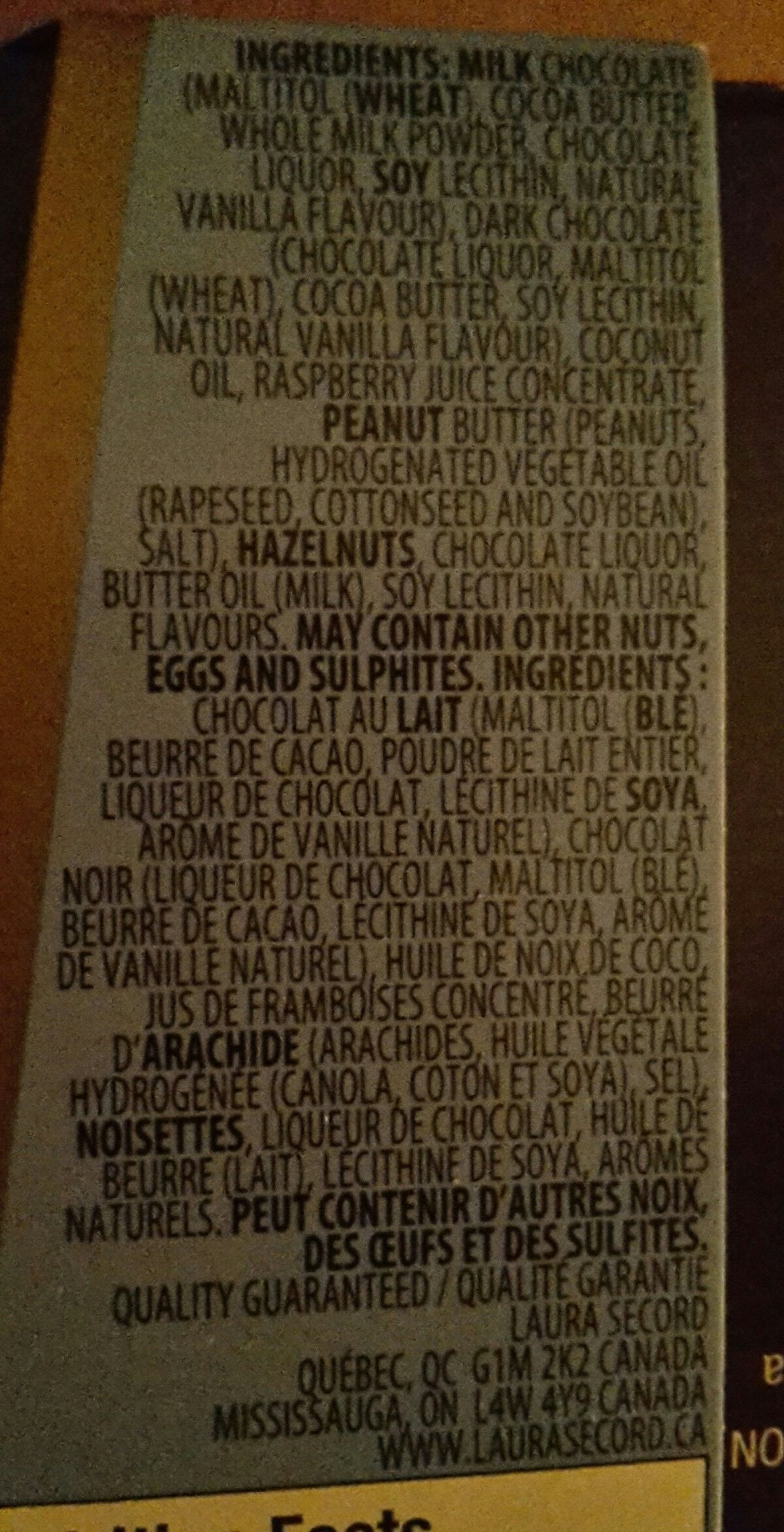 Chocolats - Ingredients - fr