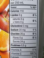 Jus Mélange D'orange (non Sucré) - Nutrition facts - fr