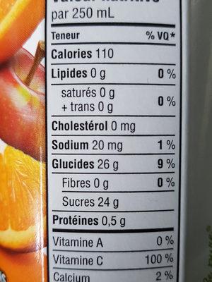 Jus Mélange D'orange (non Sucré) - Nutrition facts