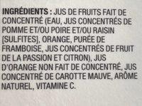 Collection Nature Orange Framboise Fruit de la Passion - Ingrédients - fr