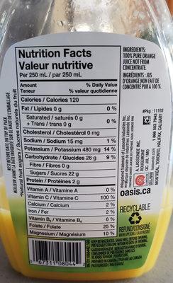 Jus d'orange 100% pur (avec pulpe) - Ingrédients - fr