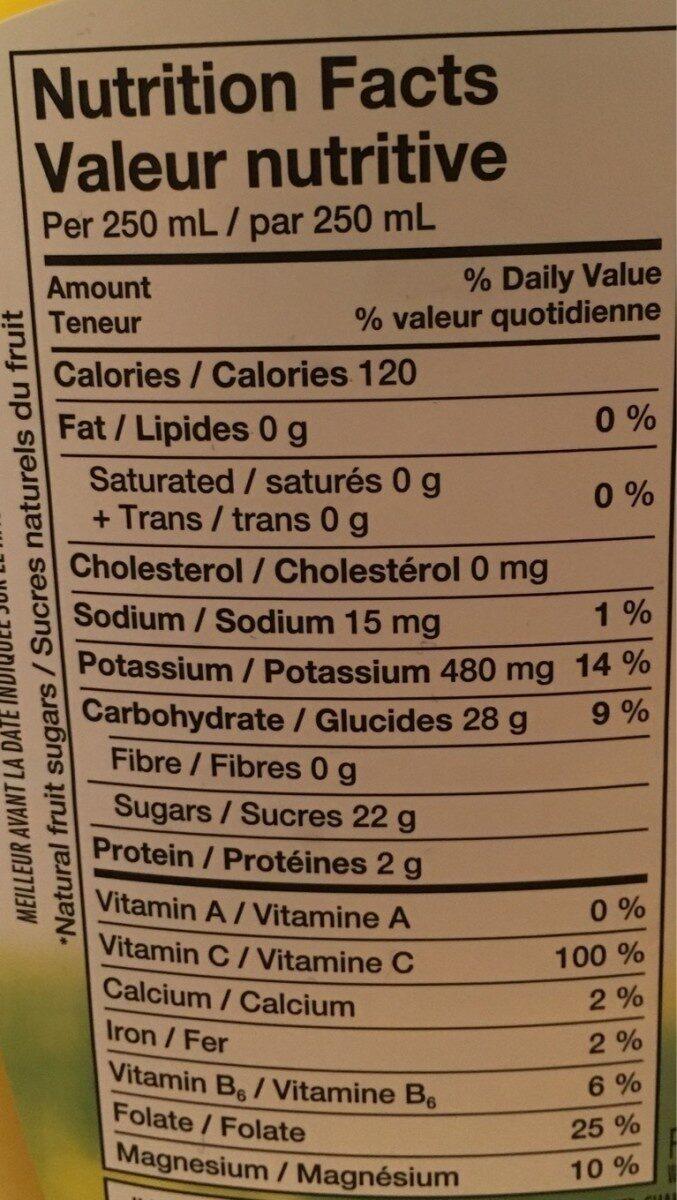 Jus d'orange 100% pur (avec pulpe) - Informations nutritionnelles - fr