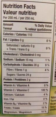 Jus d'orange 100% pur - Nutrition facts - fr