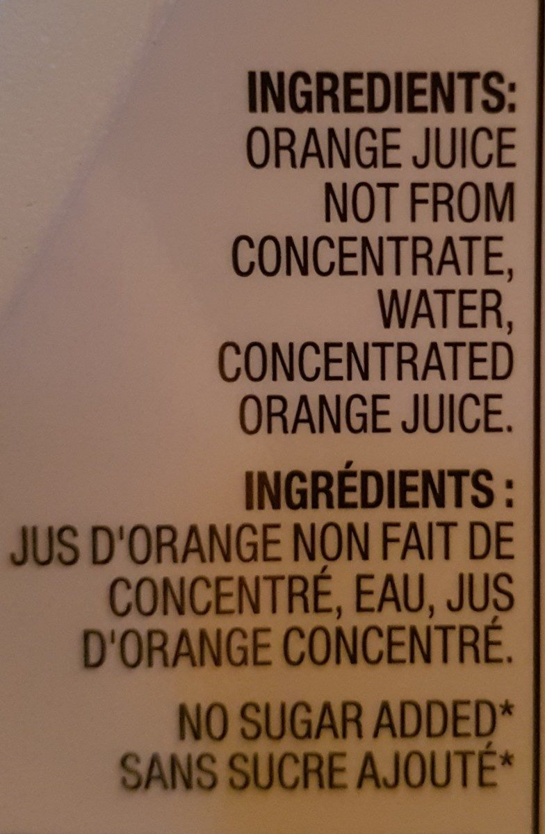Jus D'orange Premium D'orange Premium Sans Pulpe - Ingrédients - fr