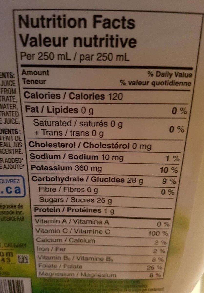 Jus D'orange Premium D'orange Premium Sans Pulpe - Nutrition facts - en