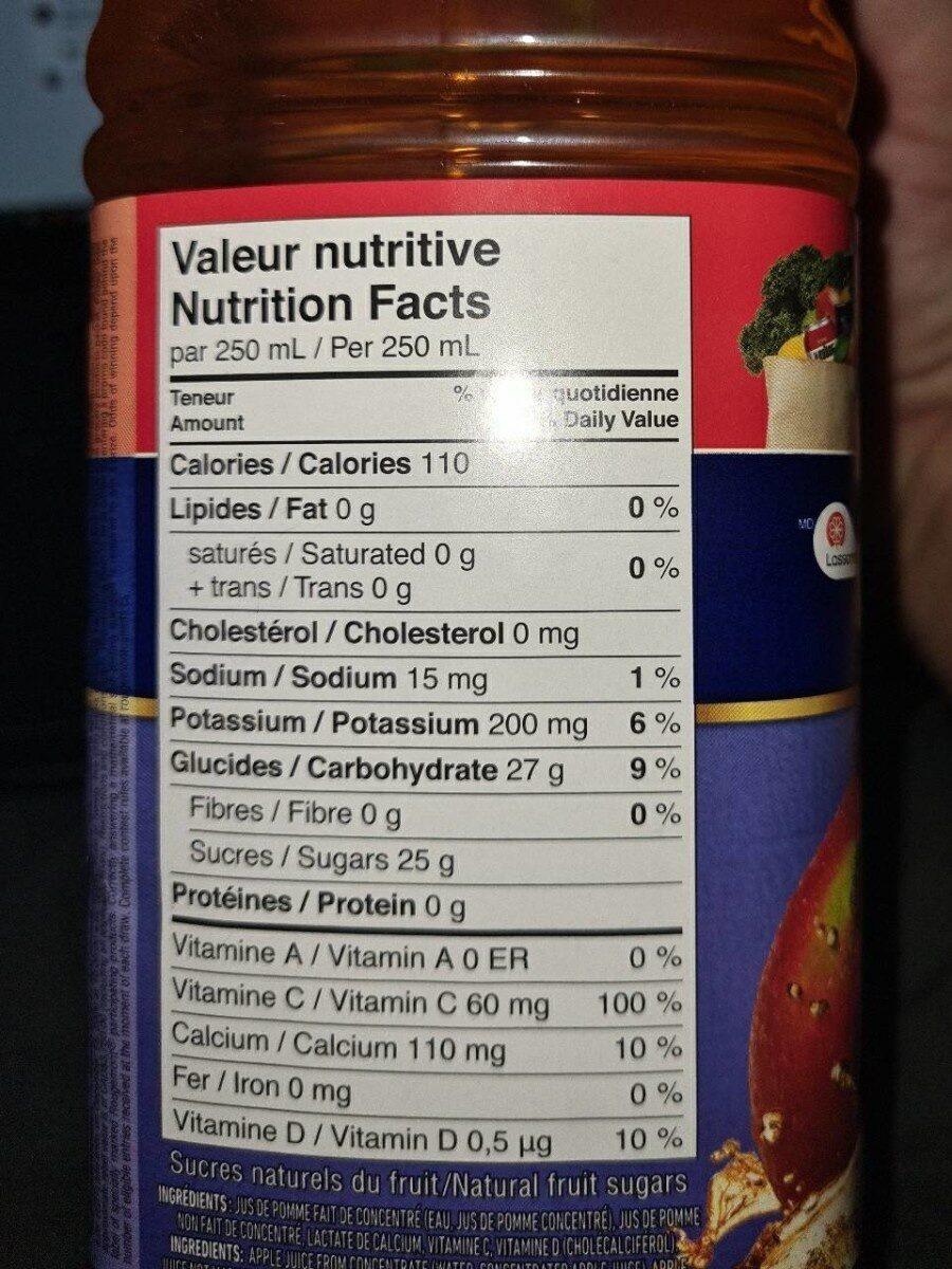 100%Jus de pomme fait de concentré - Nutrition facts - fr