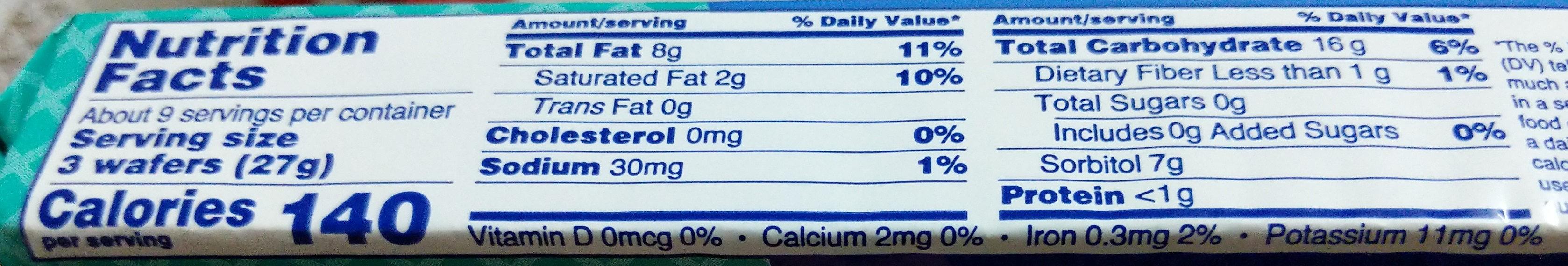 Coconut creme wafers, coconut creme - Informations nutritionnelles - en