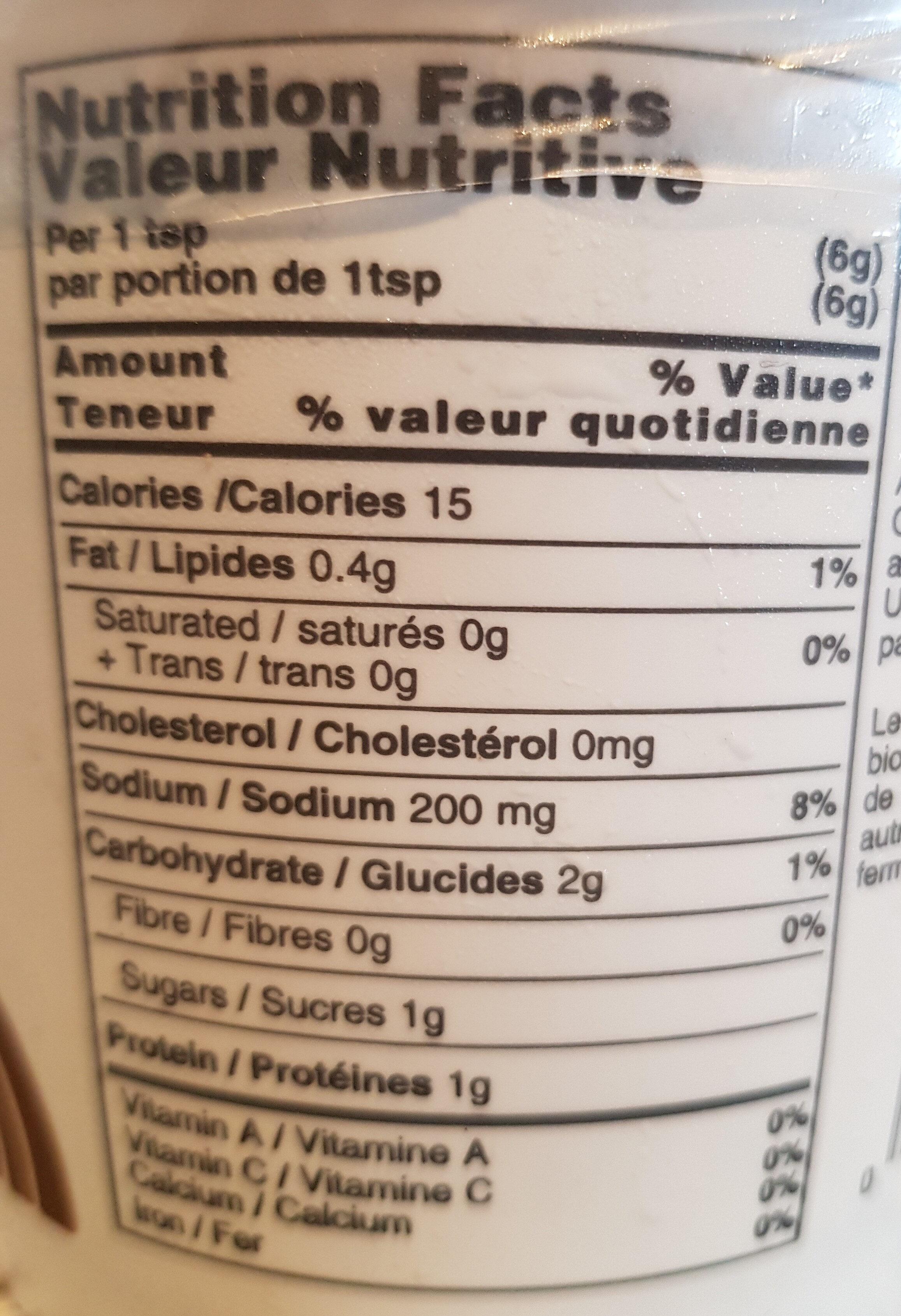 Organic Genmai Miso - Informations nutritionnelles - en